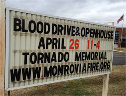 Student organizes blood drive, open house for anniversary of April 27, 2011 tornadoes