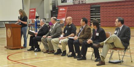 Assistant Principal Tandy Shumate introduces state dignitaries.