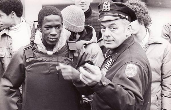 Ms. Catherine Summer's father, a NYC police officer, shows what he does on the job.