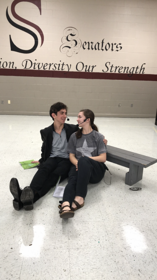 The two leads, seniors Chris Ahlf and Megan McNabb, rehearse their lines.
