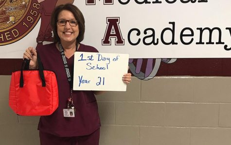 Medical Academy teacher, Mrs. Kim Goins, works on her 21 year of teaching this year.