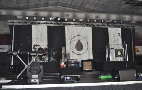 The stage for the Hydrate assembly waits for the performers. The assembly was held Oct. 22 during the school day for SHS and at night for the community.