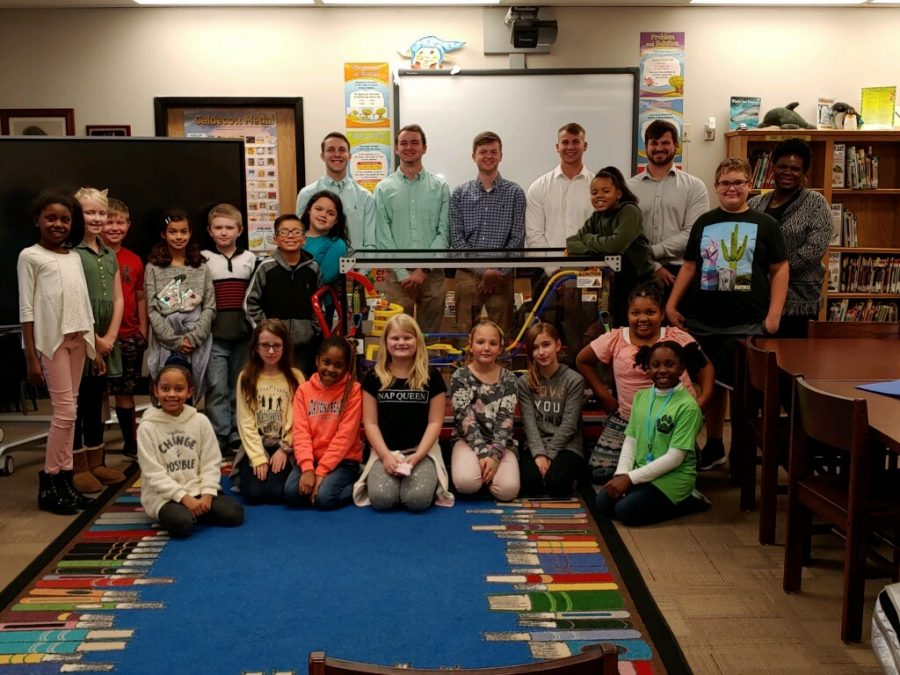 Harvest Elementary, UAH Students Pose With New Marble Rollercoaster