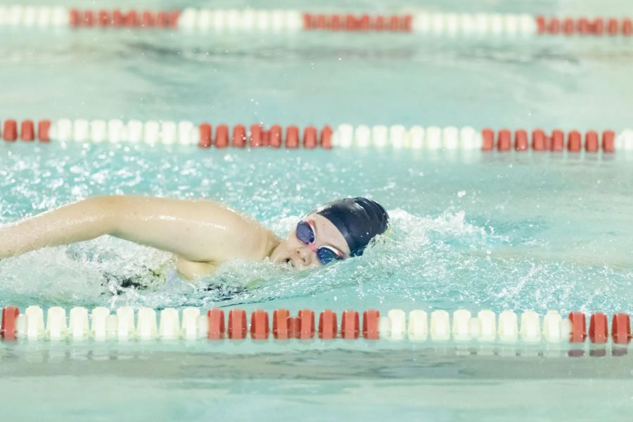 Sophomore+Jayme+Simmer+swims+in+the+recent+sectionals+meet.+Simmer+was+the+only+swimmer+to+qualify+for+state+competition+in+Auburn.+