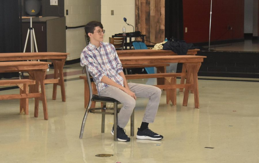 Sophomore+Matt+Brown+takes+a+break+after+his+audition.+The+school+musical+will+be+performed+Feb.+28-+March+1.+