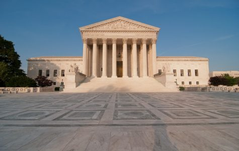 The Supreme Court building looms large in Washington, D.C.
