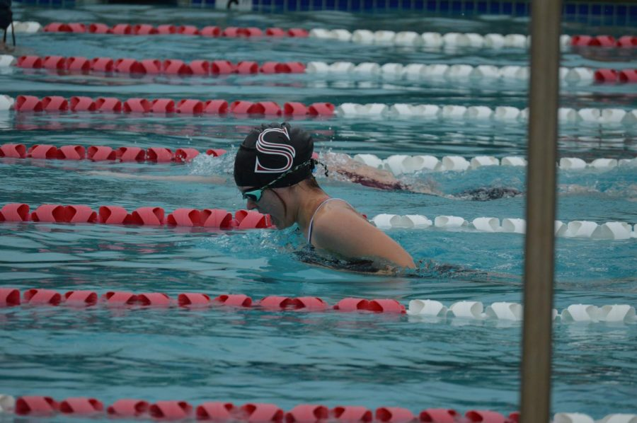 Competing+in+the+breast+stroke%2C+senior+Emily+Hammer+rises+to+take+a+breath.+