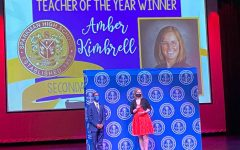 Science teacher Amber Kimbrell accepts the 2020 Madison County Teacher of the Year award.