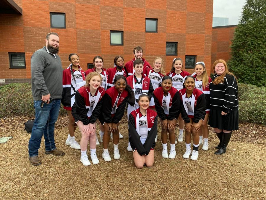 The JV cheer teams poses for a quick photo outside of the Wallace State facility where state championships were held.