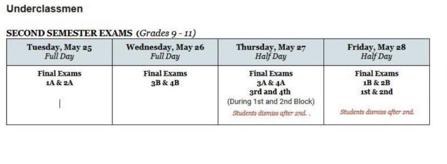 Final Exam Schedule Set