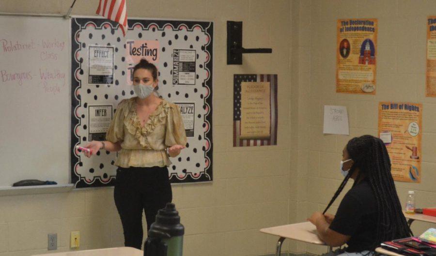 History teacher, Katilyn Brewer, teaching her class